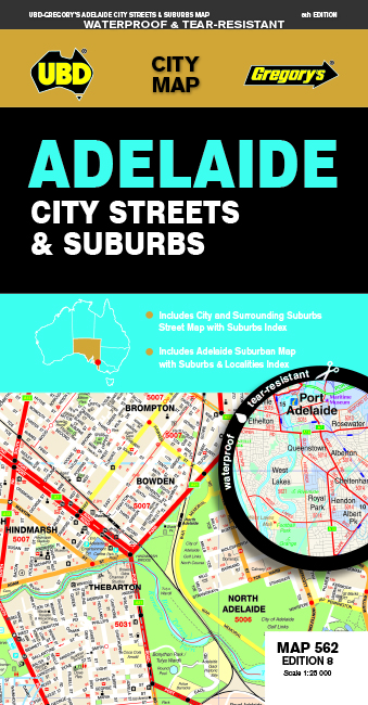 Adelaide City Streets & Suburbs  Map 562 8th ed Waterproof