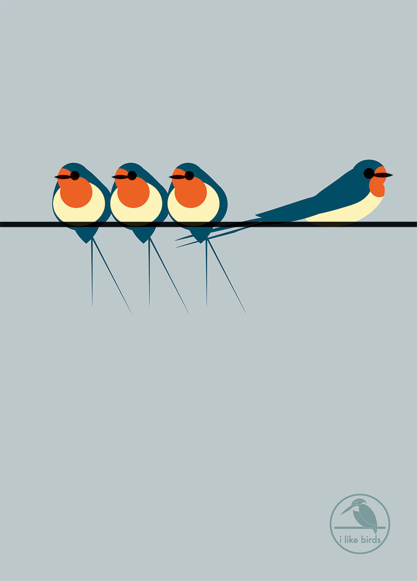 I Like Birds: Swallows On a Line Hardback Notebook
